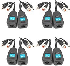4 Pairs Passive Video Power Balun Audio Connector 720P/960P/1080P/2MP BNC to RJ45 Network Transceiver Cat5e/Cat6 Adapter AHD/TVI/CVI/CVBS for Full HD Security Surveillance Camera System