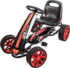 Peach Tree Kids Ride Go Kart 4 Wheel Pedal Powered Ride Racer Outdoor Toy Cart Boys & Girls with Adjustable Seat, Red