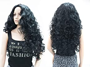 OneDor Long Hair Curly Wavy Full Head Halloween Wigs Cosplay Costume Party Hairpiece (1#-Black)