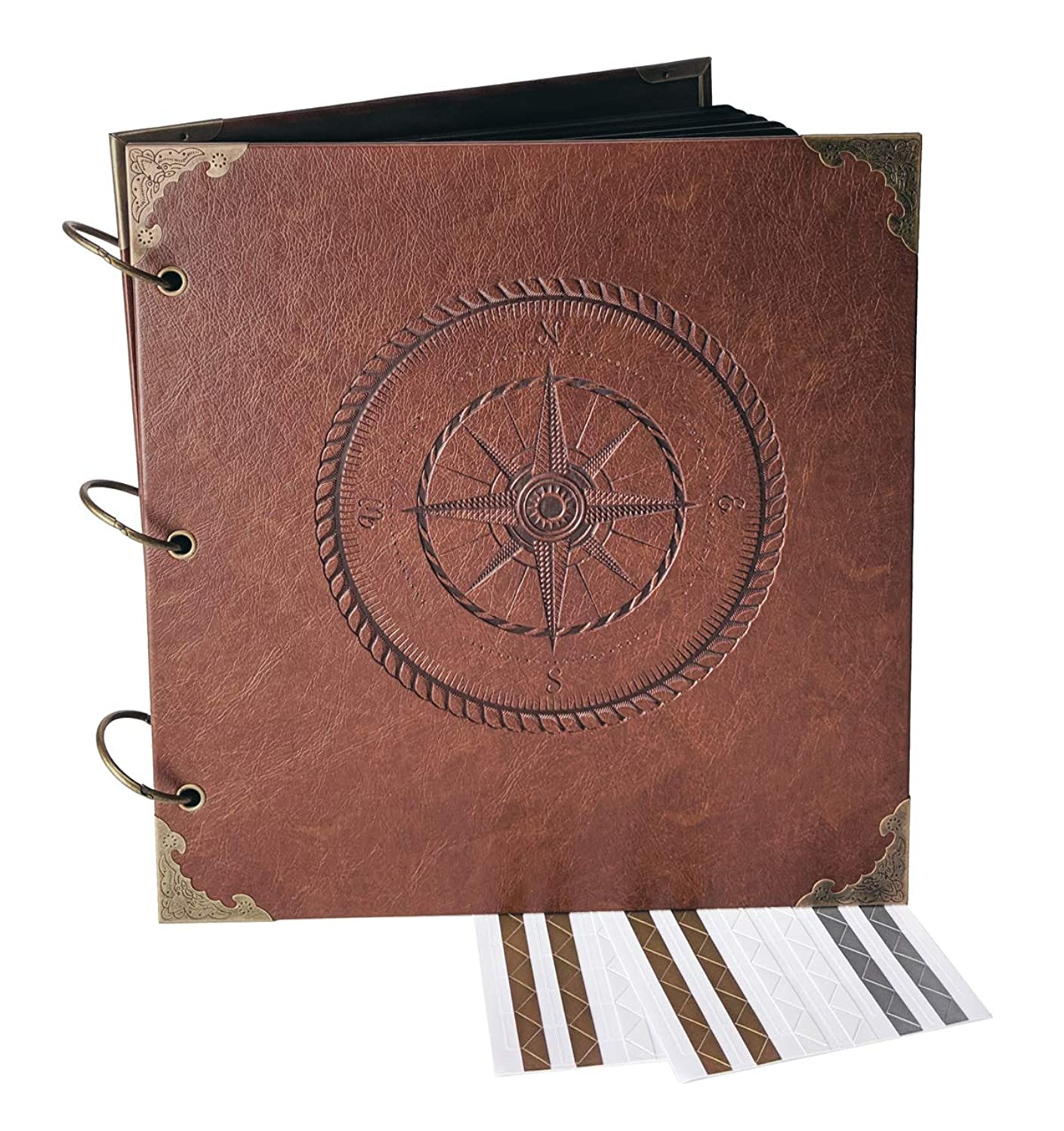 Navigating Life, Compass - Engraved Travel Adventure Book, Hard Cover, Ring Bound Scrapbook, Photo Album (Black Sheets, 10.5