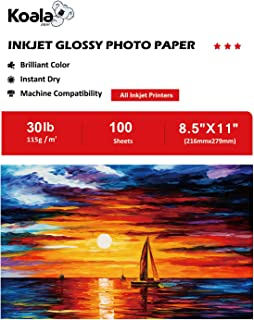 Koala Glossy Thin Photo Paper 8.5x11 Inches 100 Sheets Compatible with All Inkjet Printer 115gsm