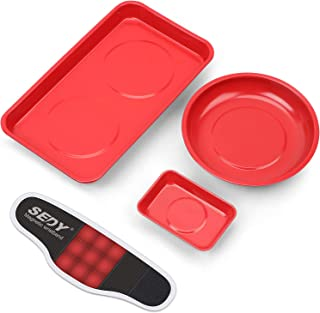 SEDY 4-Pieces Large Magnetic Parts Tray Set with Magnetic Wristband, Magnetic Tool Trays, MGSS...