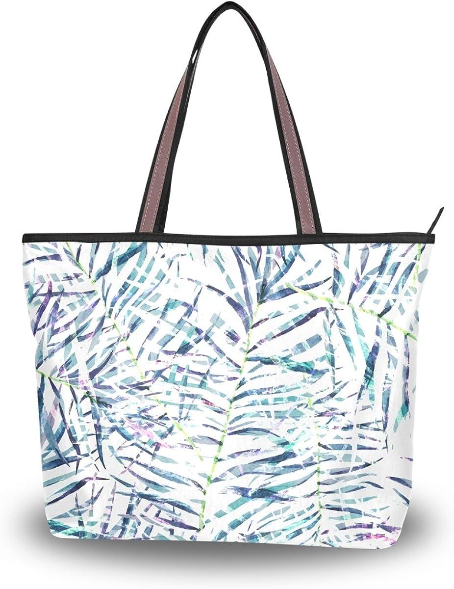 JSTEL Women Large Tote Top Handle Shoulder Bags Tropical Leaves Patern Ladies Handbag