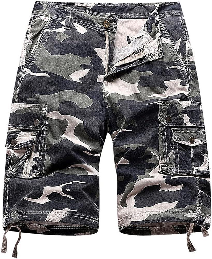NP Men's Camouflage Cargo Shorts Loose Work Casual Short Pants Men's Multipocket