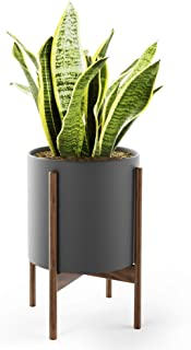 Mid Century Plant Stand with Pot with Drainage - Matte Black Ceramic Planter with Wood Plant Stand Made of Walnut - 10 inch Planter - Perfect Pot for Plants Indoor - Planter with Stand NOT Adjustable