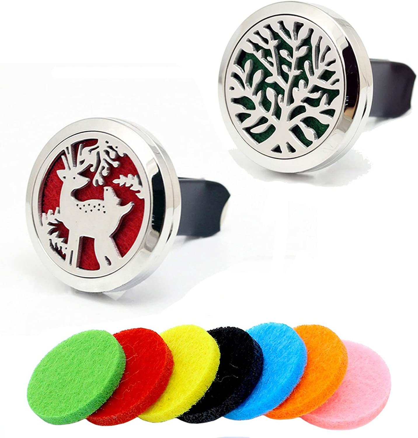 2pcs Tree Car Vent Clip Aromatherapy Essential Oil Stainless Steel Diffuser Locket With 7pcs Felt Pads