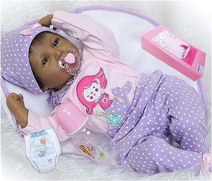22/'/' Reborn Baby Dolls Black Skin Silicone Vinyl Doll Handmade Newborn Lifelike