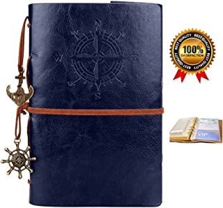 Leather Writing Journal,Vintage Refillable Notebook,Travel Diary,Sketchbook,Planner,Blank Pages,Classic Embossed,Bonus Plastic Zipper Pocket and Card Holders,for Girls and Boys,7 Inches, Navy Blue