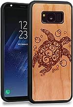 JuBeCo S8 Plus Case,Galaxy S8 Plus case, Wood Slim Case+TPU Bumper for Samsung Galaxy S8 Plus (sea Turtle Cherry)