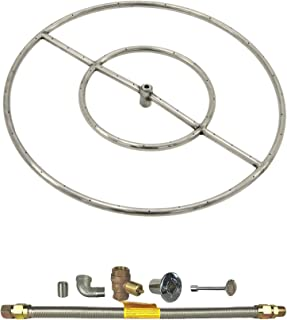 Spotix HPC Round Fire Pit Burner Kit (FPS24KIT-NG-MSCB), 24-Inch Burner, Match Light, Natural Gas
