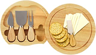 Gourmet 5 Pcs Travel Cheese Set with Cutting Board - Hard Cheese Knife, Shaver, Fork and Spreader