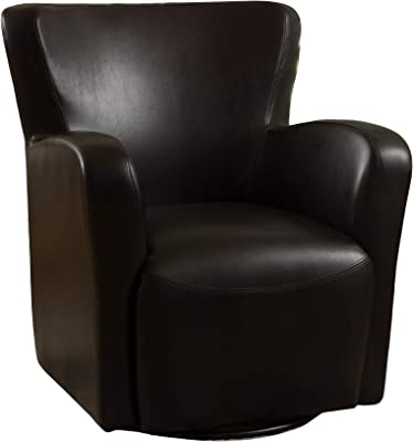 Christopher Knight Home Vada Leather Swivel Chair, Brown