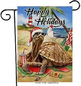 Artofy Happy Holidays Christmas Home Decorative Garden Flag, Xmas House Yard Coastal Sea Turtle Beach Seabird Outside Decor, Winter Tortoise Nautical Hawaii Outdoor Small Decoration Double Sided 12x18