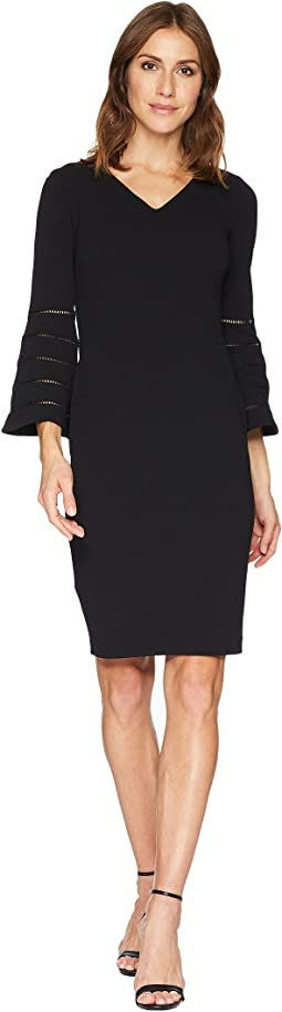V-Neck Sheath Dress with Faggotting Trim Bell Sleeve CD8C19MH