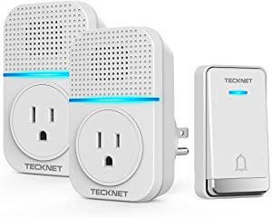 TECKNET Wireless Doorbell Chimes Kit for Home long range Waterproof DoorBells with Self Powered Push Button & 2 Plug in chimes with Extra Socket, 5 Volume Levels & LED Flash