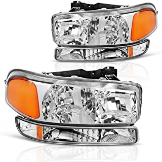 AUTOSAVER88 Compatible with 99-06 GMC Sierra 1500 2500 3500/00-06 GMC Yukon Headlight Assembly + Park/Signal Headlamp, Chrome Housing