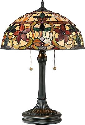 Lampe de table Farfalla 6 - Couleur bronze doré - Diamètre : 41 cm - Hauteur : 58 cm - 2 ampoules E27 - Design Tiffany - Pour salon, chambre à coucher