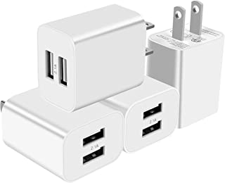 USB Wall Charger, Charger Plug 4 Pack 5V 2.1Amp Dual Port Travel Power Charger Adapter for iPhone Xs/XS Max/XR/X/8/8 Plus/7/6S/6S Plus/6/SE/5S/5C iPad, Samsung Galaxy/S9/S8/S7/S6 LG and More