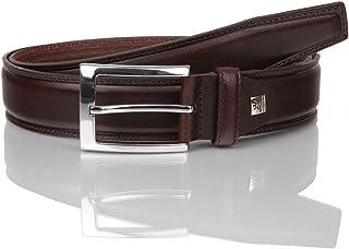 LINDENMANN Mens leather belt/Mens belt, full grain leather belt curved, black