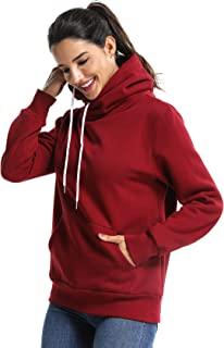 Women's Cowl Neck Casual Long Sleeve Hoodie Fleece Pullover Sweatshirt with Pocket