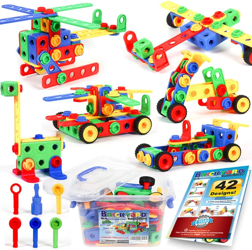 Brickyard Building Blocks STEM Toys & Activities – Educational Building Toys for Kids Ages 4-8 w/ 163 Pieces, Kid-Friendly Tools, Design Guide and Toy Storage Box