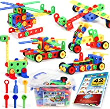 163 Piece STEM Toys Kit, Educational Construction Engineering Building Blocks Learning Set for Ages 3 4 5 6 7 8 9 10 Year ...