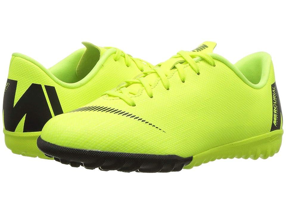 Nike Kids VaporX 12 Academy TF Soccer (Toddler/Little Kid/Big Kid) (Volt/Black) Kids Shoes