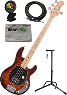Sterling RAY34QM-ILB-M2 StingRay, Quilt Top, Island Burst 4 String Bass w/Gig B