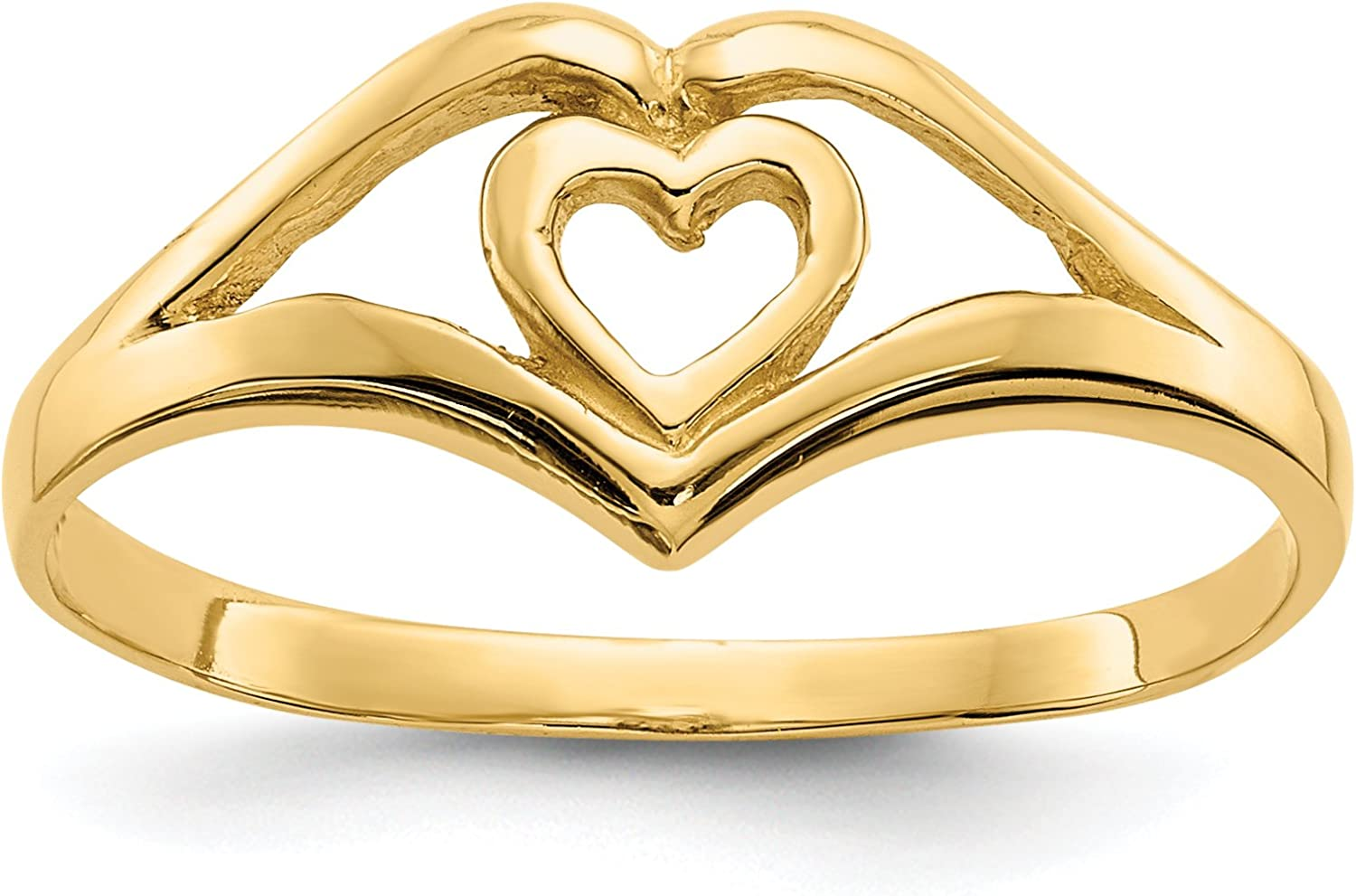 14k Yellow gold Double Heart Ring for Women Size 7.5