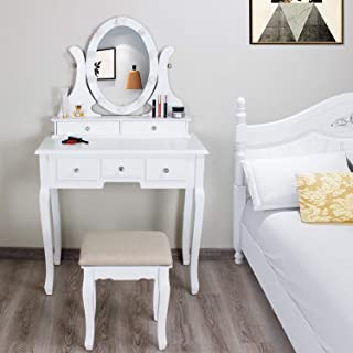 Yokstore Vanity Table Set with LED Lighted Mirror Makeup Table 5 Drawers and 360°Rotating Oval Mirror Writing Desk with Cushioned Stool,White