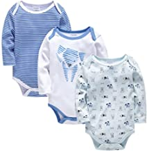JanLEESi Baby Boys Autumn Bodysuits Long Sleeve 3-Pack Cotton Rompers