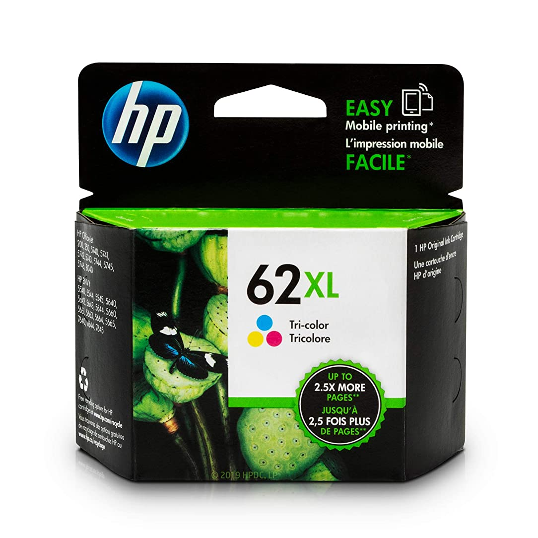 HP 62XL Tri-color Ink Cartridge (C2P07AN) for HP ENVY 5540 5541 5542 5543 5544 5545 5547 5548 5549 5640 5642 5643 5644 5660 5661 5663 5664 5665 7640 7643 7644 7645 HP Officejet 200 250 258 5740 5741 pja20990773