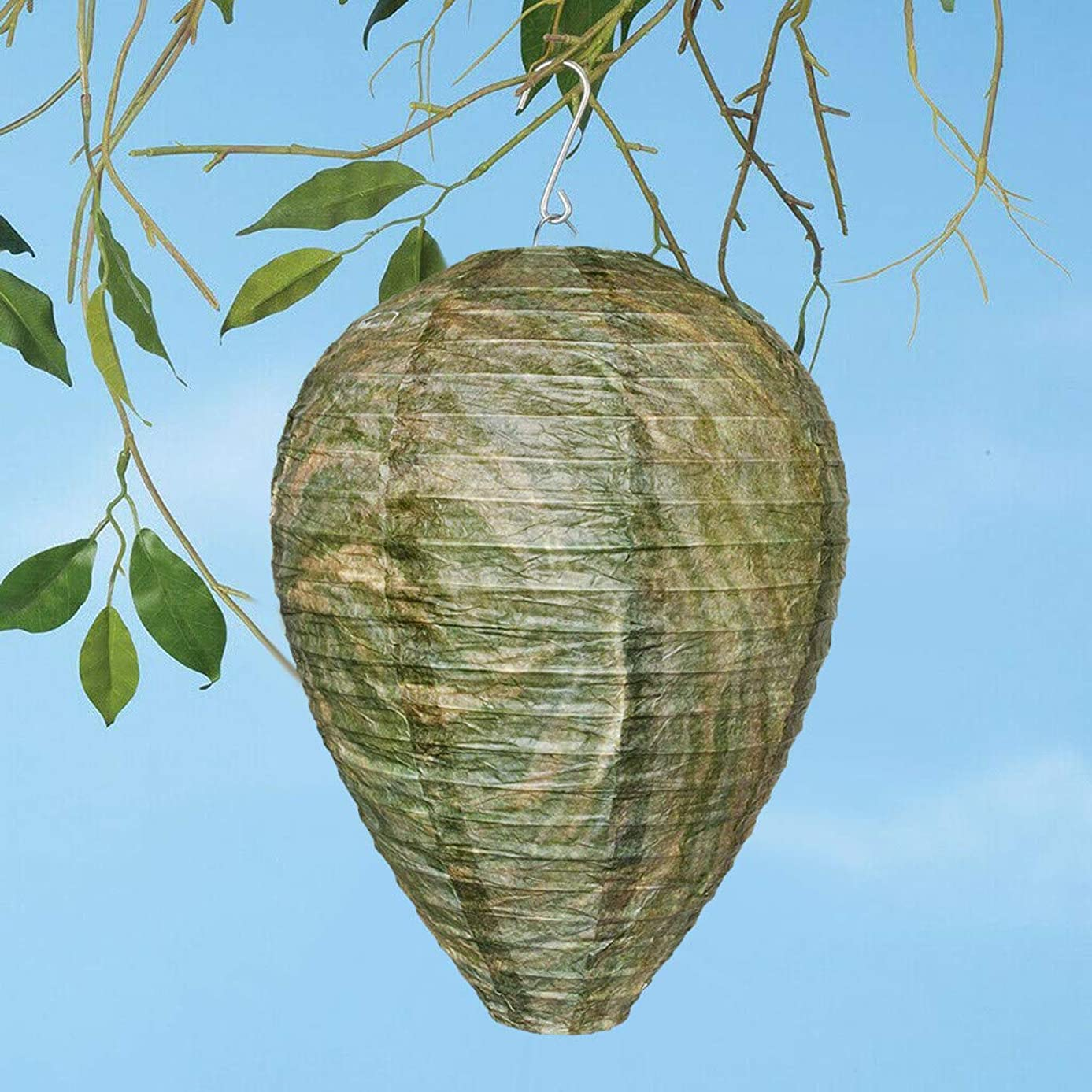 Chezaa Outdoor Paper-Like Artificial Wasp Nests Deterrent Hanging Lantern Simulated Bee Hornets Fake Wasp Nest Lights Decorative Lamp for Garden Patio Courtyard (F)