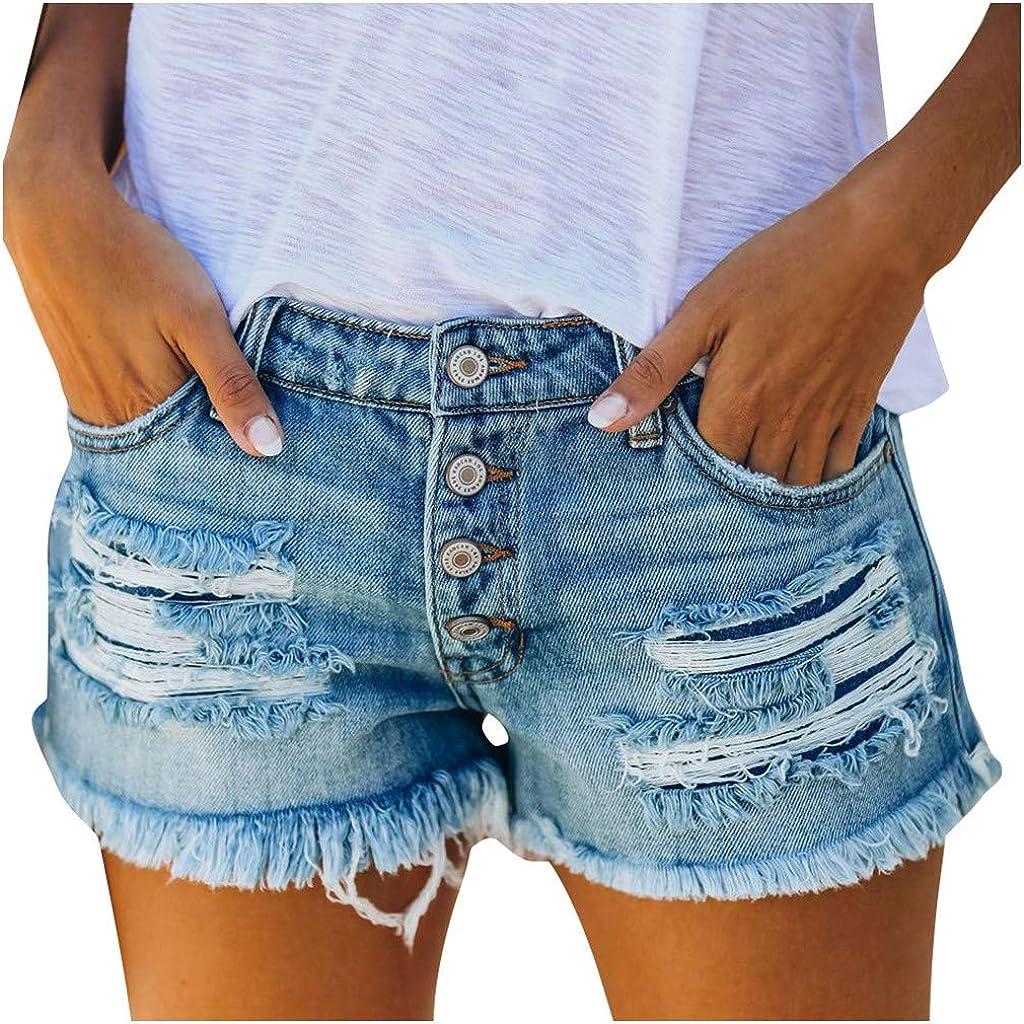 HCNTES Denim Shorts for Women,Women Summer Causal Slim Mid Waisted Cuffed Hem Buttons Denim Jean Shorts
