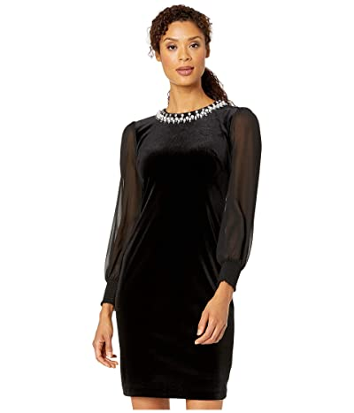 Tahari by ASL Illusion Sleeve Velvet Cocktail Dress with Pearl Necklace Embellishment Detail (Black) Women