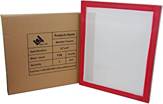 20 x 24 Inch Pre-Stretched Aluminum Silk Screen Printing Frames with 110 White Mesh (2 Pack Screens)
