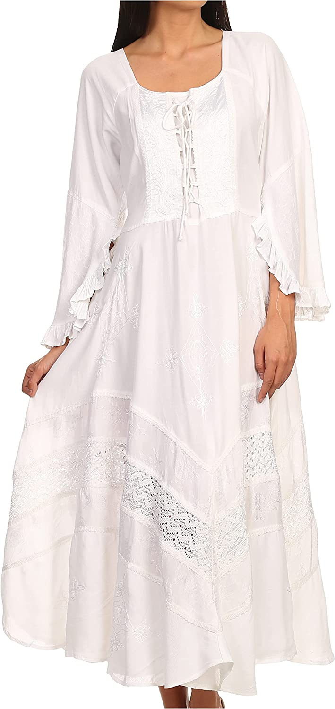 Sakkas Mirabel Stonewashed Corset Style Floral Emboridery Kimono Sleeve Dress