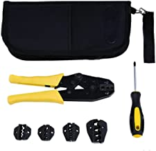 Dolphin Shop Crimper Crimp Pliers Set 0.5 to 35 Millimeter Crimping Tool Kit Ratchet 4 Spare Dies 1 Screwdriver with Bag Material Steel Color Yellow and Black