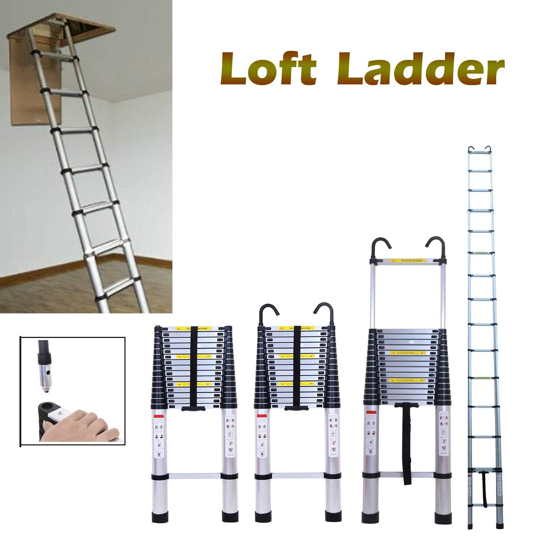 Escalera de aluminio para desván (6,2 m, con gancho desmontable, 150 kg, portátil, fácil de almacenar, tamaño cerrado, 109 x 48 x 8,8 cm): Amazon.es: Bricolaje y herramientas