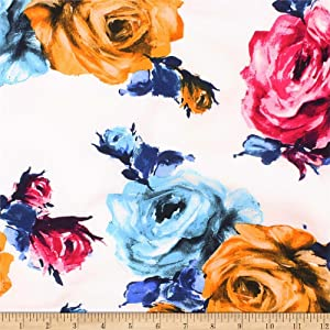 Telio Picasso Rayon Poplin Floral Fabric, White Mustard, Fabric By The Yard