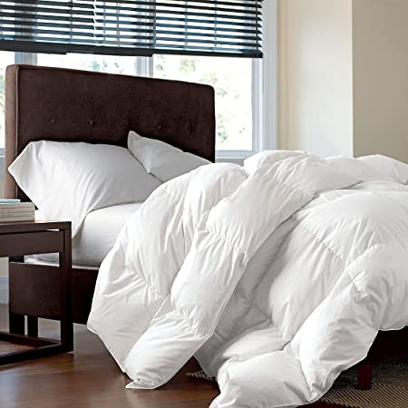 Luxurious Twin/Twin XL Size Siberian Goose Down Comforter, 1200 Thread Count 100% Egyptian Cotton 750FP, 50oz, 1200TC, White Solid