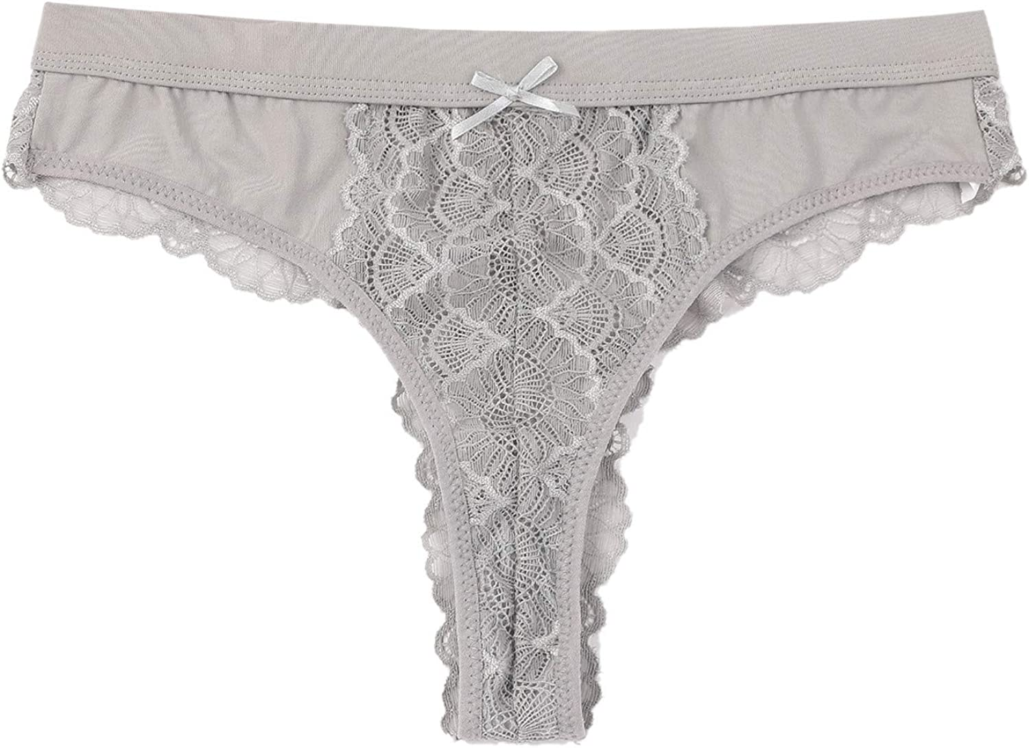Women's Lace Bow Panties See-Through Breathable Thongs Briefs Lingerie Underwear Gifts for Women