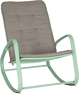Ulax furniture Outdoor Patio Garden Rocking Chair with Cushion, Green