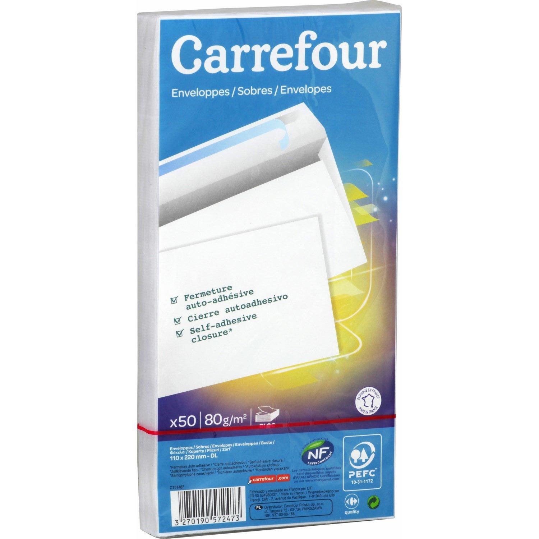 Carrefour 3270190572473 Papel - Sobre (Papel, 80 g/m², 100 mm, 22,1 cm): Amazon.es: Oficina y papelería