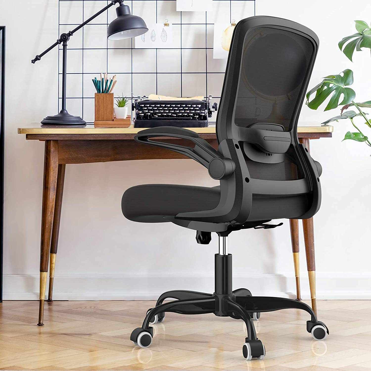 Mimoglad Office Chair, High Back Executive Computer Desk Chair - Adjustable Height and Flip-up Arms Swivel Chair Thick Padding for Comfort and Ergonomic Design for Lumbar Support…: Furniture & Decor
