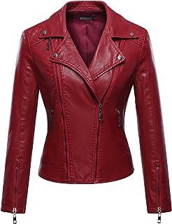 15990eefed5 Tanming Women s Faux Leather Moto Biker Short Coat Jacket