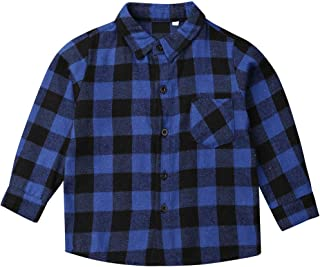 Infant Baby Boy Girl Plaid Shirt Long Sleeve Mouth Cotton Shirt Tops Fall Winter Clothes