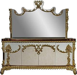 Casa Padrino Conjunto de Muebles barrocos aparador con Espejo - Aparador de Madera Maciza Adornada con Espejo de Pared - M...