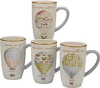 Certified International Beautiful Romance Set/4 Balloon Mug 16 oz. , Assorted Designs,One Size, Multicolored