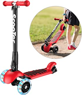 Banne Scooter Height Adjustable Lean to Steer Flashing PU Wheels 3 Wheel Kick Scooters for Kids Boys Girls (RED)